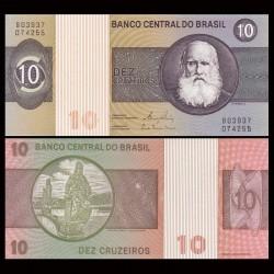 BRESIL - Billet de 10 Cruzeiros - Empereur Pierre II - 1980 P193e