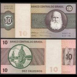 BRESIL - Billet de 10 Cruzeiros - Empereur Pierre II - 1974