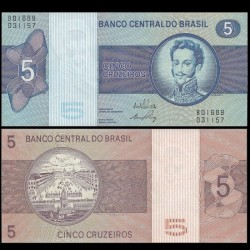 BRESIL - Billet de 5 Cruzeiros - Pierre Iᵉʳ du Brésil - 1973
