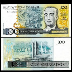 BRESIL - Billet de 100 Cruzados - Juscelino Kubitschek- 1987 P211b