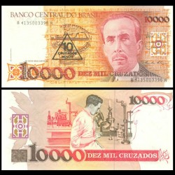 BRESIL - Billet de 10 Cruzado Novo - Carlos Chagas - 1989 P218a