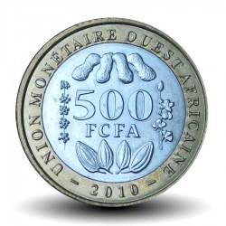 AFRIQUE DE L'OUEST (BEAO) - PIECE de 500 Francs - Cabosses de cacao - Bimétal - 2010 Km#15