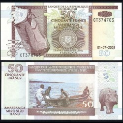 BURUNDI - Billet de 50 Francs - Hippopotame - 1.7.2003 P36d
