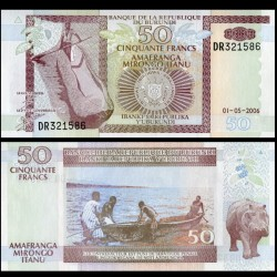 BURUNDI - Billet de 50 Francs - Hippopotame - 1.5.2006 P36f