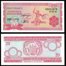 BURUNDI - Billet de 20 Francs - 25.5.1995