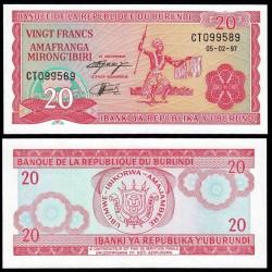 BURUNDI - Billet de 20 Francs - 5.2.1997 P27d1