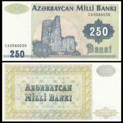 AZERBAIDJAN - Billet de 250 Manat - Tour de la jeune fille, Bakou - 1992