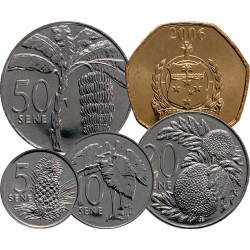 SAMOA - SET / LOT de 5 PIECES - 5 10 20 50 Sene 1 Tala - 2000 2002 Km#14 132 133 134 135