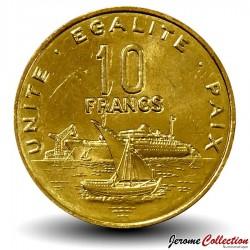 DJIBOUTI - PIECE de 10 FRANCS - Vue du port de Djibouti - 1999