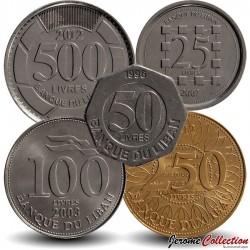 LIBAN - SET / LOT de 5 PIECES de 25 50 100 250 500 Livres - 1996 2006 2012
