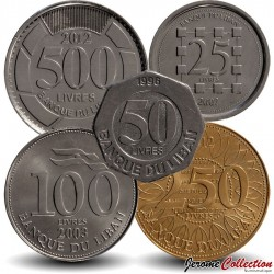 LIBAN - SET / LOT de 5 PIECES de 25 50 100 250 500 Livres - 1996 2006 2012
