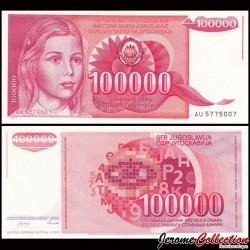YOUGOSLAVIE - Billet de 100000 Dinara - 1989 P97a