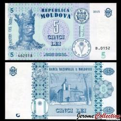 MOLDAVIE - Billet de 5 LeI - 2015