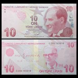 TURQUIE - Billet de 10 Livre Turque - Cahit Arf - 2017 P223c