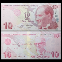 TURQUIE - Billet de 10 Lire Turque - Cahit Arf - 2017 P223c
