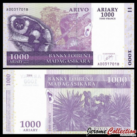 MADAGASCAR - Billet de 1000 Ariary / 5000 Francs - Lémurien Varecia variegata - 2004