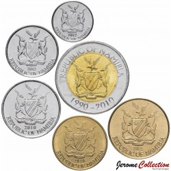 NAMIBIE - SET / LOT de 6 PIECES - 5 10 50 Cents 1 2 5 DOLLARS - 2010 2012