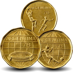 ARGENTINE - SET / LOT de 3 PIECES de 20 50 100 Pesos - Coupe du monde de Football - 1978 Km#75 76 77