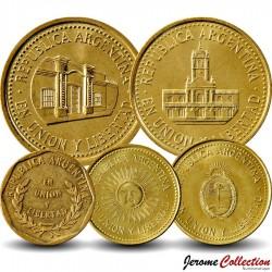 ARGENTINE - SET / LOT de 5 PIECES de 1 5 10 25 50 Centavos - 1992 2009 2010 2011