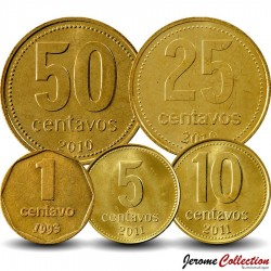ARGENTINE - SET / LOT de 5 PIECES de 1 5 10 25 50 Centavos - 1992 2009 2010 2011