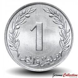 TUNISIE - PIECE de 1 Millime - Chêne-liège - 1960