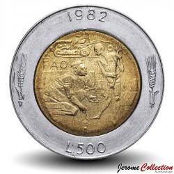 SAINT-MARIN - PIECE de 500 Lire - Conquête sociale - Fao - 1982