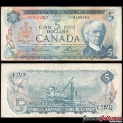 CANADA - Billet de 5 Dollars -  Sir Wilfrid Laurier / Bateau de Pèche - 1972