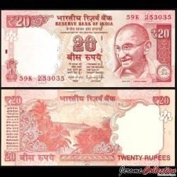 INDE - Billet de 20 Roupies - Gandhi - 2014 P103i - Lettre E