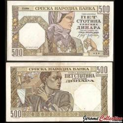 SERBIE - Billet de 500 Dinara - Femme Yougoslave - 1941