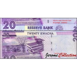 MALAWI - Billet de 20 Kwacha 2012 (avec erreur du nom du batiment)