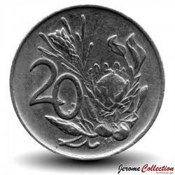 AFRIQUE DU SUD - PIECE de 20 Cents - Fleur protée royale - 1975 Km#86a