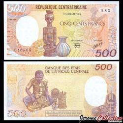 REPUBLIQUE CENTRAFRICAINE - Billet de 500 Francs - Statuette - 01.01.1987