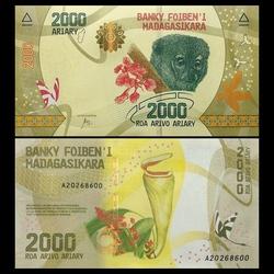 MADAGASCAR - Billet de 2000 Ariary - Lémurien - 2017 P101a