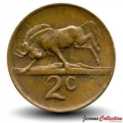 AFRIQUE DU SUD - PIECE de 2 Cents - Gnou noir - 1970 Km#83
