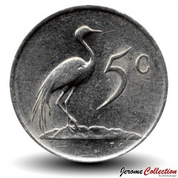 AFRIQUE DU SUD - PIECE de 5 Cents - Grue de paradis - 1983 Km#84