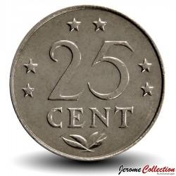 ANTILLES NEERLANDAISES - PIECE de 25 Cents - 1975