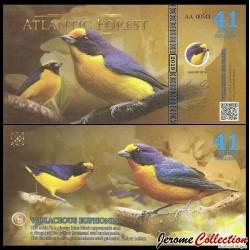 ATLANTIC FOREST - Billet de 41 Aves - Oiseau Organiste téité - 2019 0041 AVES