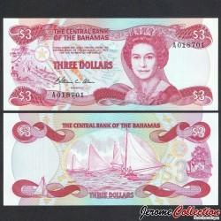 BAHAMAS - Billet de 3 Dollars - Bateaux à voile - 1984