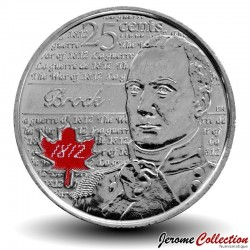 CANADA - PIECE de 25 Cents - Guerre de 1812 - Sir Isaac Brock - 2012 - Colorisée