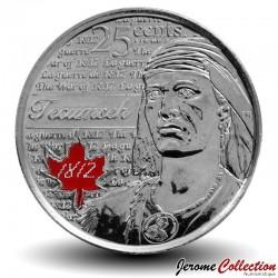 CANADA - PIECE de 25 Cents - Guerre de Tecumseh de 1812 - 2012 - Colorisée