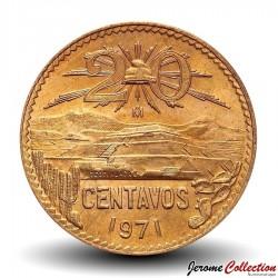 MEXIQUE - PIECE de 20 Centavos - Pyramide de teotihuacan - 1971 Km#440