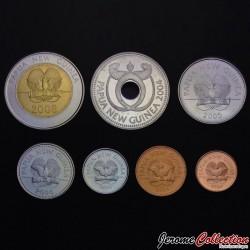 PAPOUASIE NOUVELLE GUINEE - SET / LOT de 7 PIECES de 1 2 5 10 20 Toea 1 2 Kina - 2001 2008