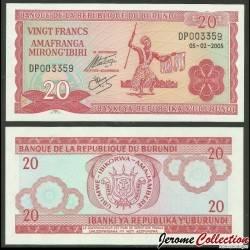 BURUNDI - Billet de 20 Francs - 5.2.2005 P27d4