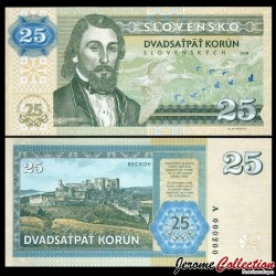 SLOVAQUIE - Billet de 25 Korun - Jozef Miloslav Hurbans - 2018