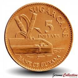 GUYANA - PIECE de 5 Dollars - Canne à sucre - 2008 Km#51
