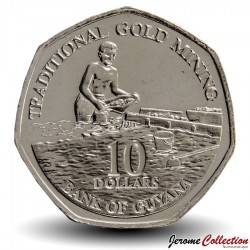 GUYANA - PIECE de 10 Dollars - Chercheur d'or - 2017