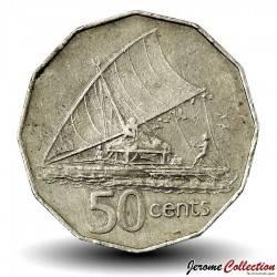 FIDJI - PIECE de 50 Cents - Un canoë à voile - 1980