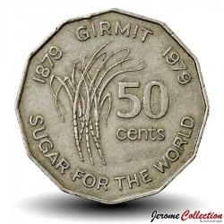 FIDJI - PIECE de 50 Cents - Canne à sucre - FAO - 1979