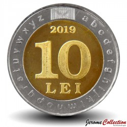MOLDAVIE - PIECE de 10 Lei - Bimétal - 30 ans de la langue officielle et d'écriture latine - 2019