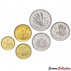 LESOTHO - SET / LOT de 6 PIECES de 10 20 50 Lisente 1 2 5 Maloti - 1992 1998 2010 Km#54 55 58 63 64 65 66